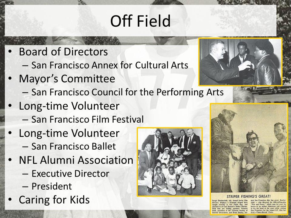 Off Field Board of Directors Mayor's Committee Long-time Volunteer