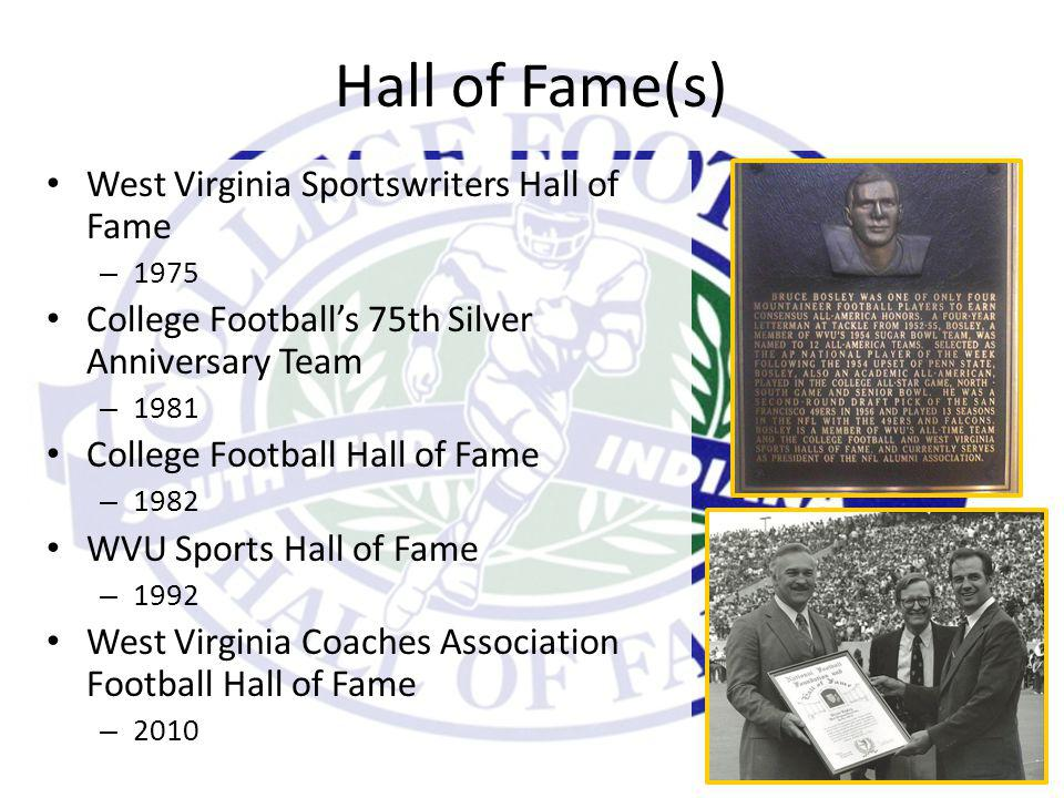 Hall of Fame(s) West Virginia Sportswriters Hall of Fame