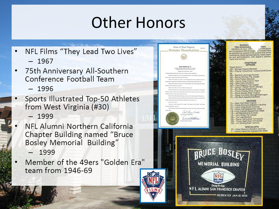 Other Honors NFL Films They Lead Two Lives