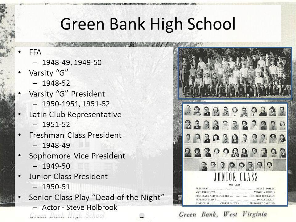 Green Bank High School FFA Varsity G Varsity G President