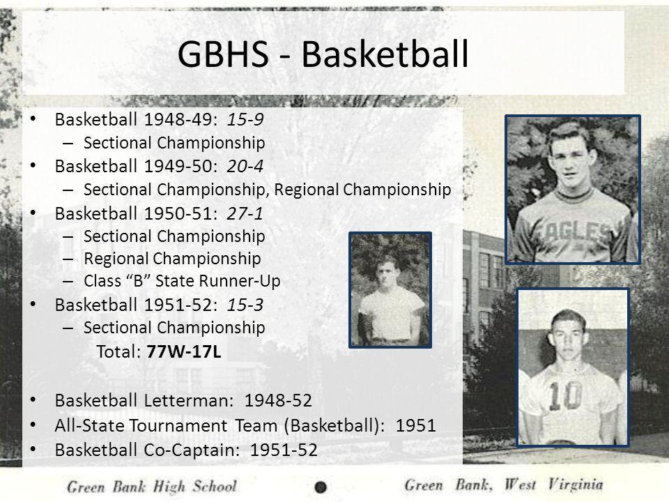 GBHS - Basketball Basketball 1948-49: 15-9 Basketball 1949-50: 20-4