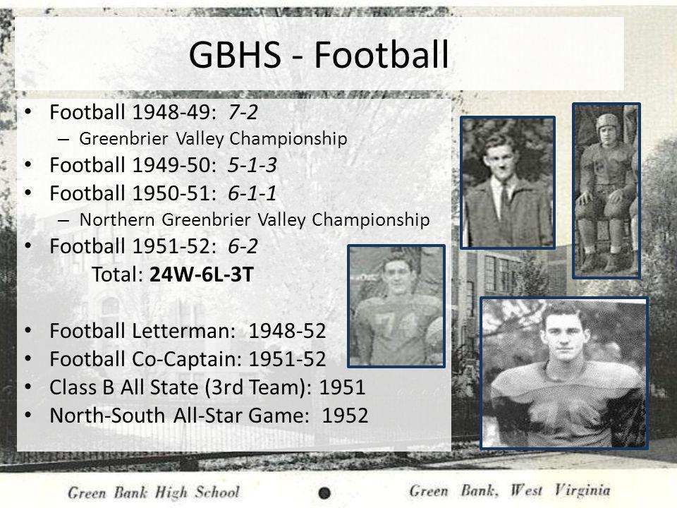 GBHS - Football Football 1948-49: 7-2 Football 1949-50: 5-1-3