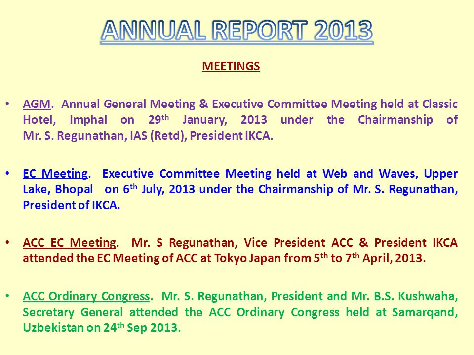 ANNUAL REPORT 2013 MEETINGS