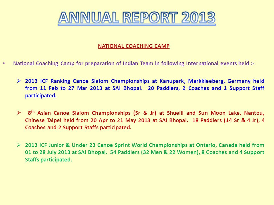 NATIONAL COACHING CAMP