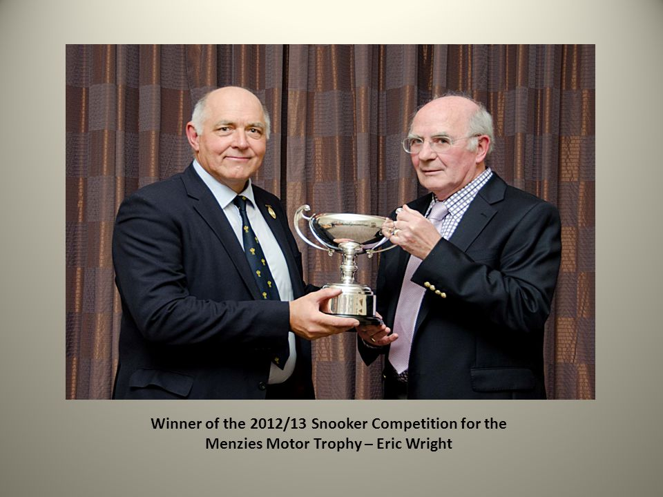Winner of the 2012/13 Snooker Competition for the Menzies Motor Trophy – Eric Wright