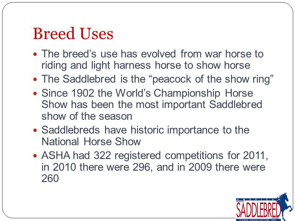 Breed Uses The breed's use has evolved from war horse to riding and light harness horse to show horse.