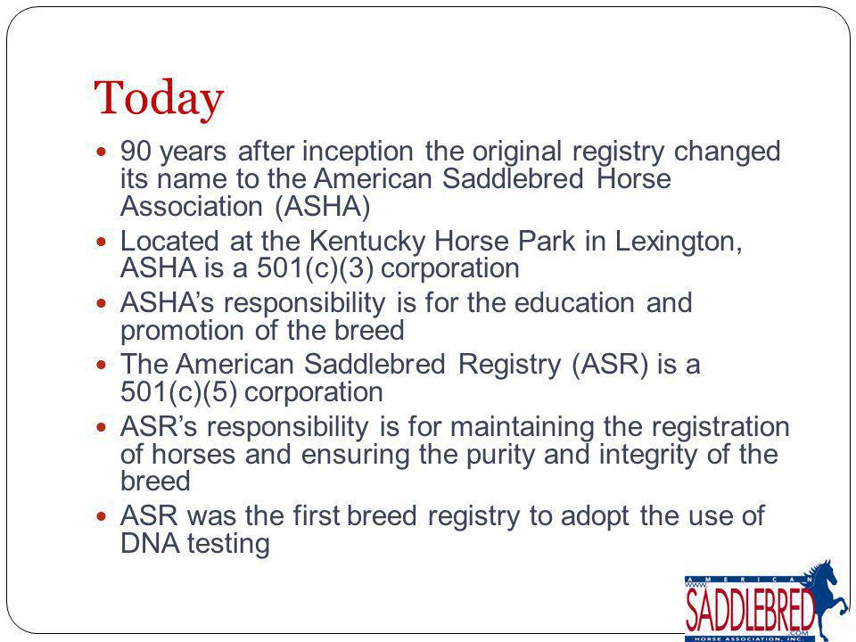 Today 90 years after inception the original registry changed its name to the American Saddlebred Horse Association (ASHA)