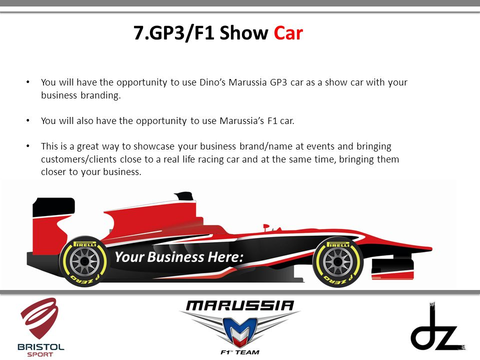 7.GP3/F1 Show Car Your Business Here: