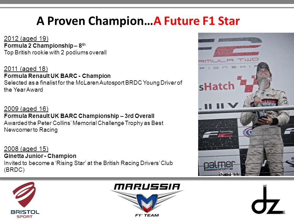 A Proven Champion…A Future F1 Star