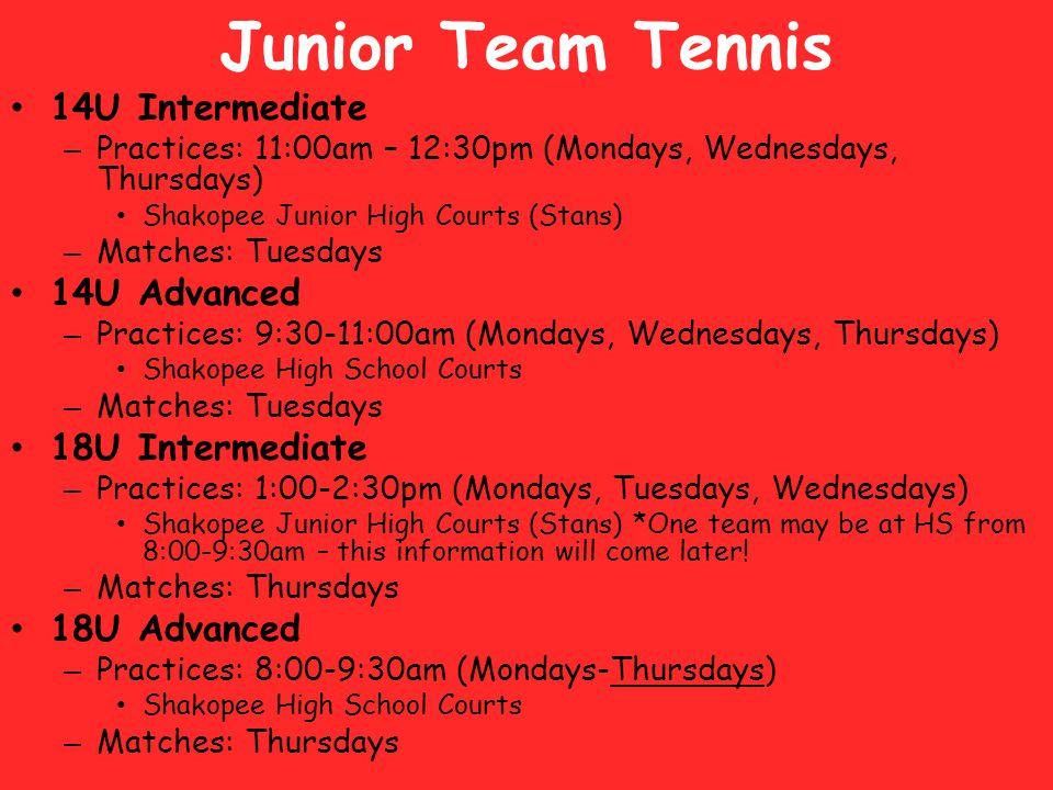 Junior Team Tennis 14U Intermediate 14U Advanced 18U Intermediate