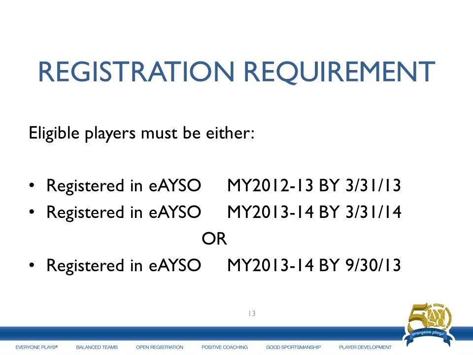 REGISTRATION REQUIREMENT