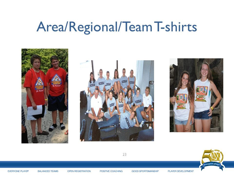 Area/Regional/Team T-shirts