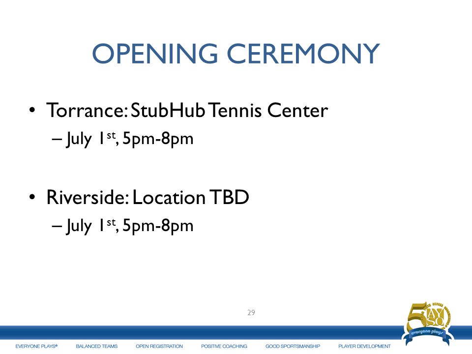 OPENING CEREMONY Torrance: StubHub Tennis Center