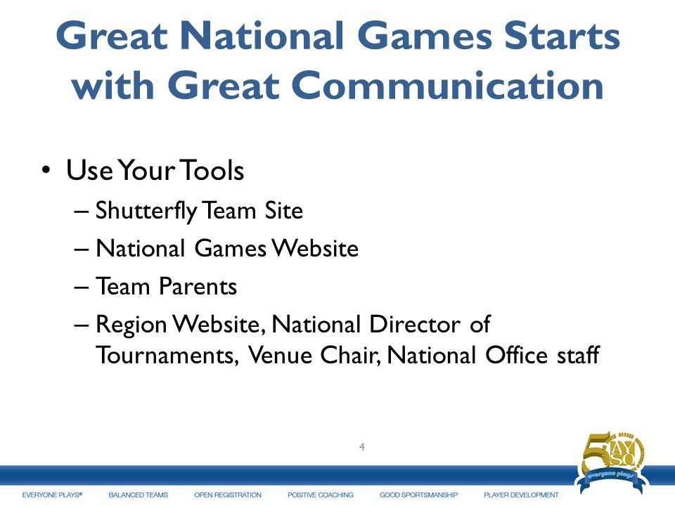 Great National Games Starts with Great Communication