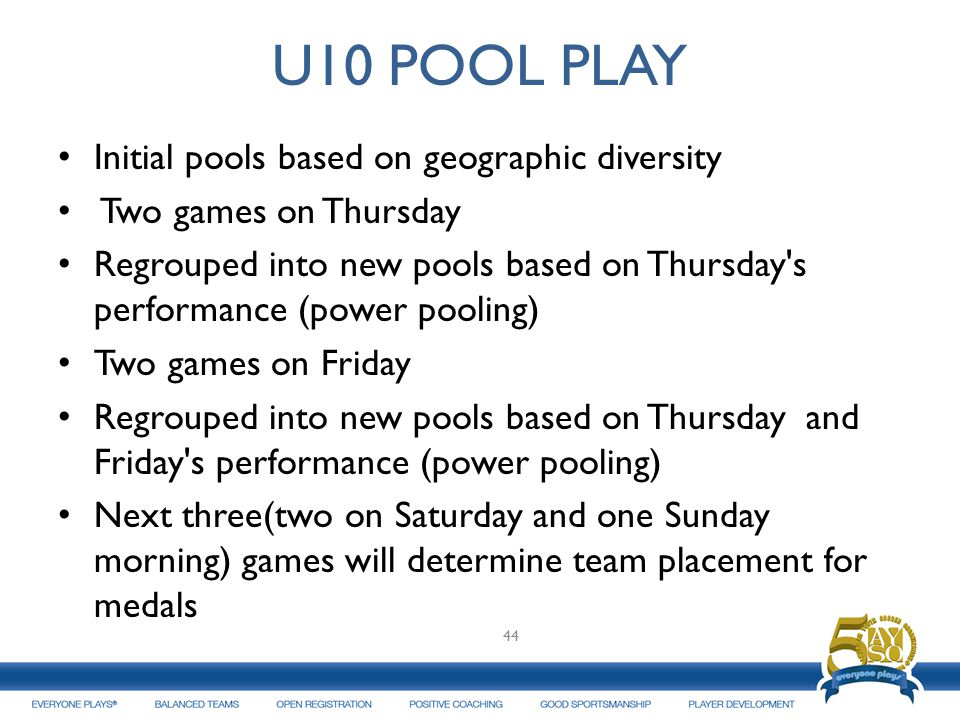 U10 POOL PLAY Initial pools based on geographic diversity