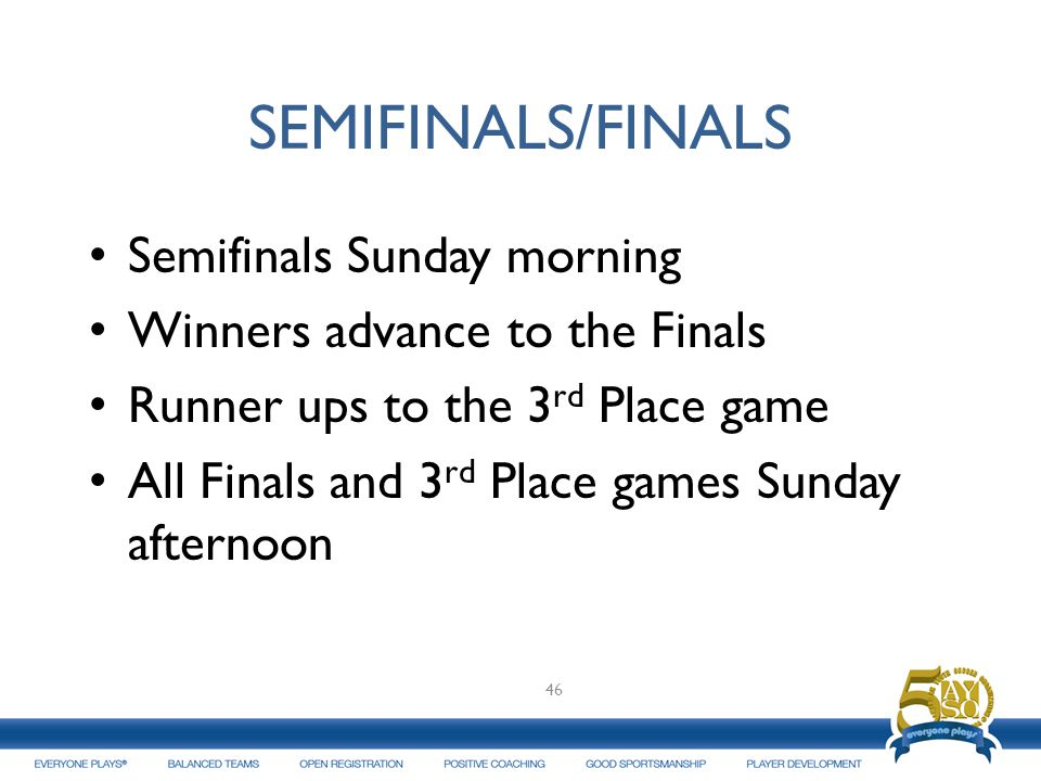 SEMIFINALS/FINALS Semifinals Sunday morning