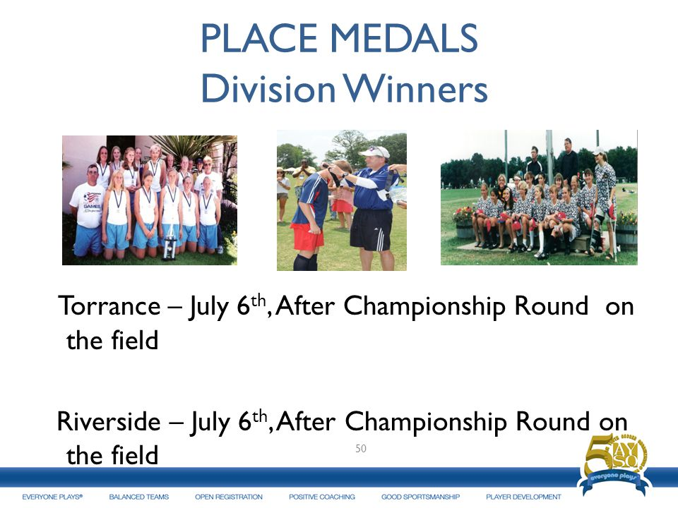 PLACE MEDALS Division Winners