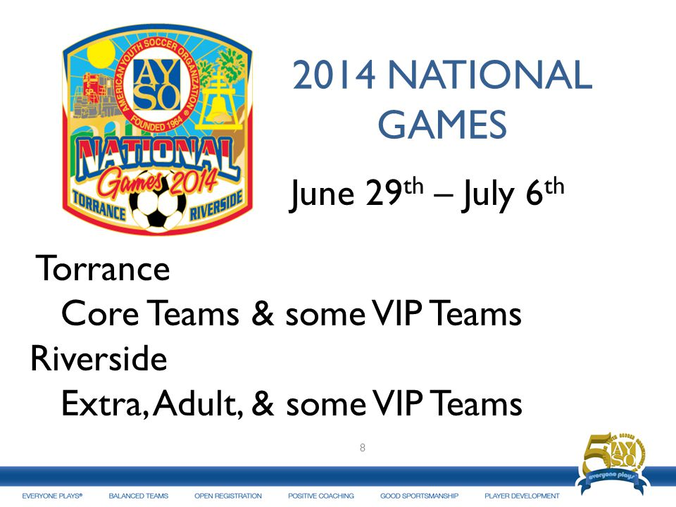 2014 NATIONAL GAMES June 29th – July 6th Torrance