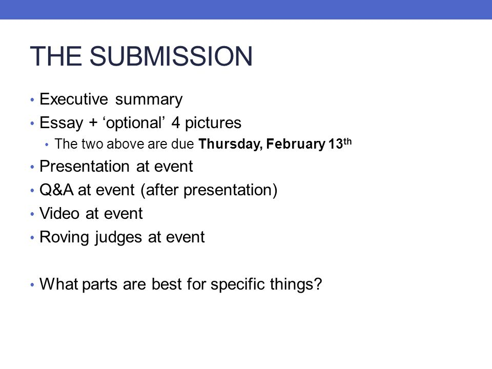 THE SUBMISSION Executive summary Essay + 'optional' 4 pictures