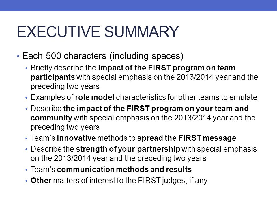 EXECUTIVE SUMMARY Each 500 characters (including spaces)