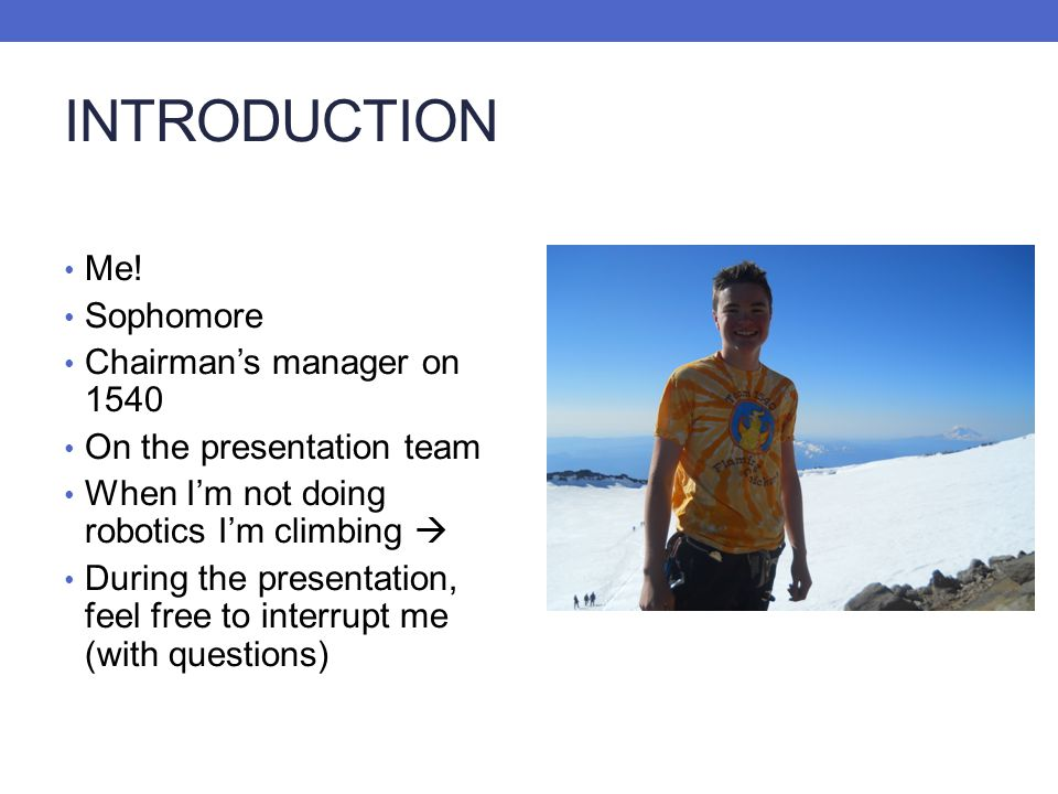 INTRODUCTION Me! Sophomore Chairman's manager on 1540