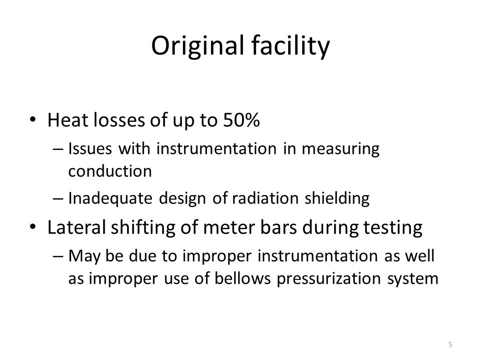 Original facility Heat losses of up to 50%