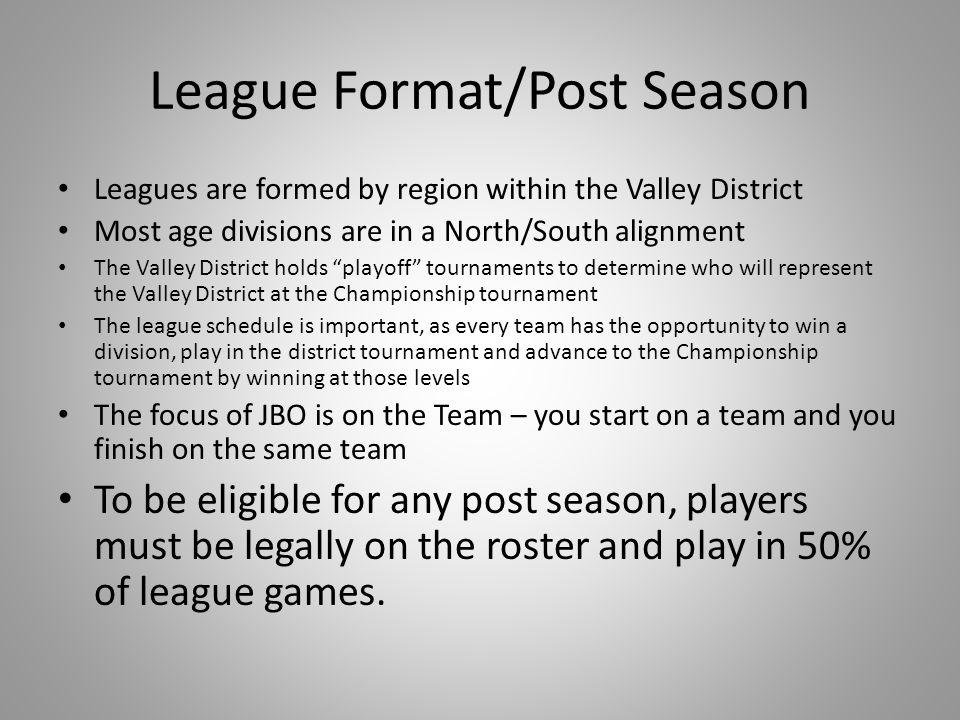 League Format/Post Season