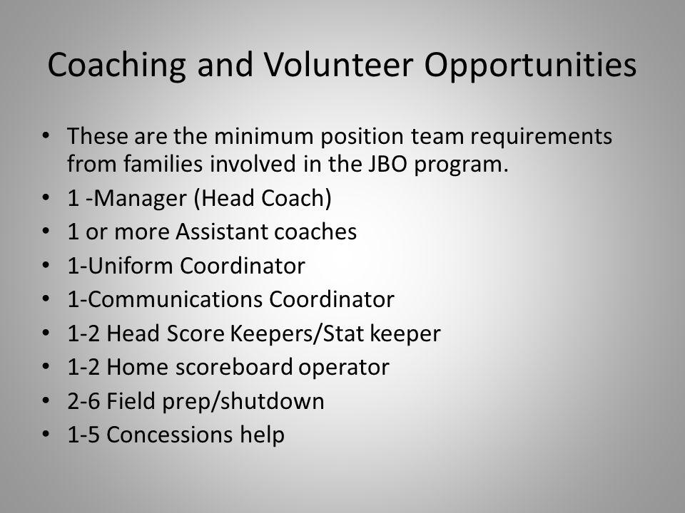 Coaching and Volunteer Opportunities