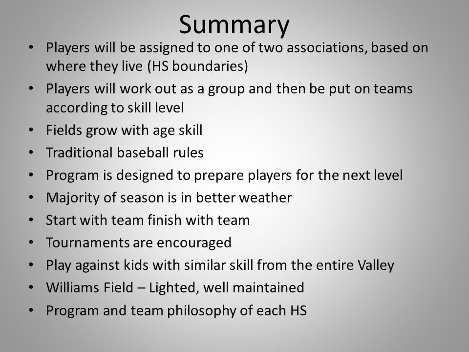 Summary Players will be assigned to one of two associations, based on where they live (HS boundaries)