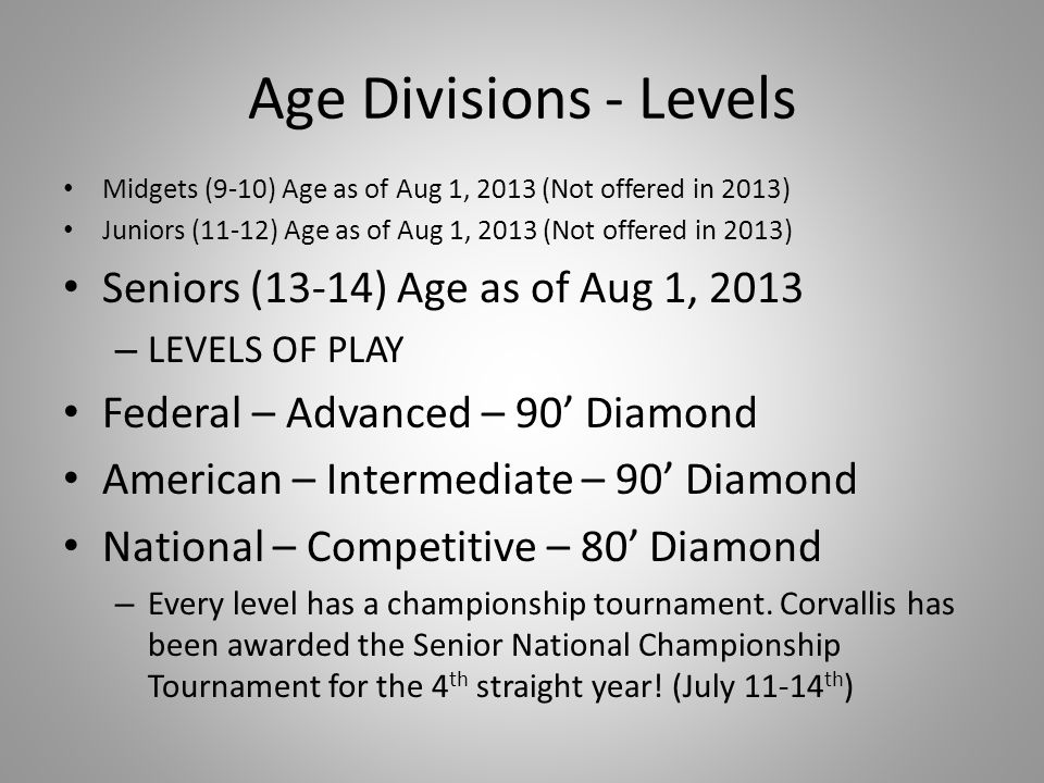 Age Divisions - Levels Seniors (13-14) Age as of Aug 1, 2013