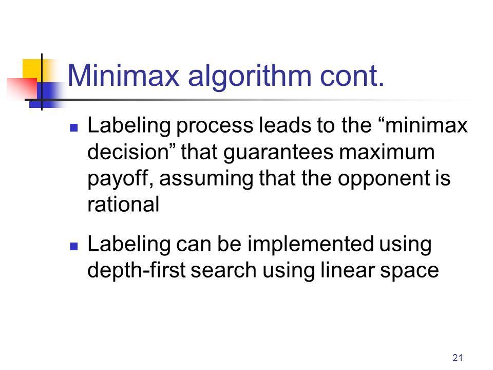 Minimax algorithm cont.