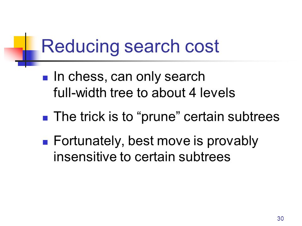 Reducing search cost In chess, can only search full-width tree to about 4 levels. The trick is to prune certain subtrees.