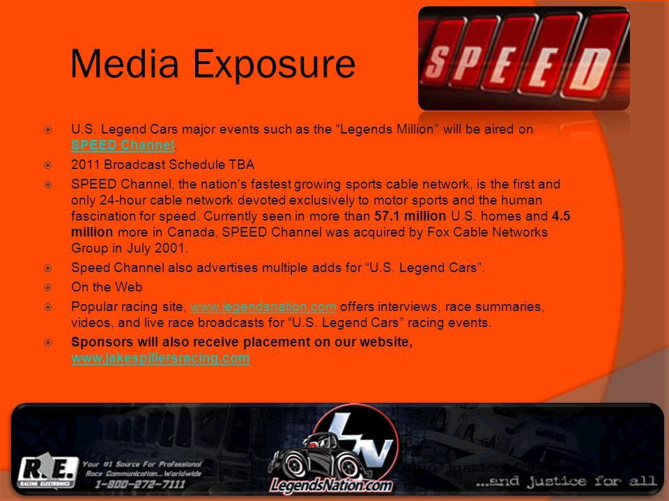 Media Exposure U.S. Legend Cars major events such as the Legends Million will be aired on SPEED Channel.
