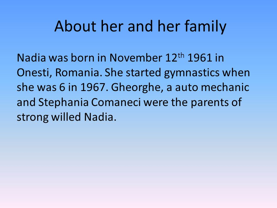 About her and her family