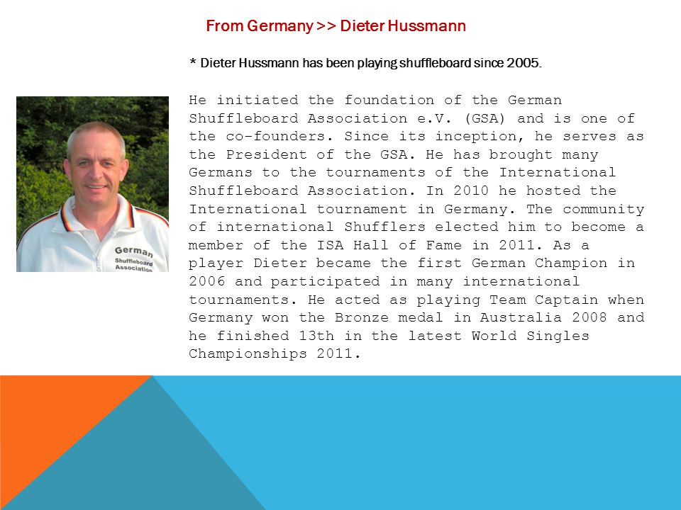 From Germany >> Dieter Hussmann