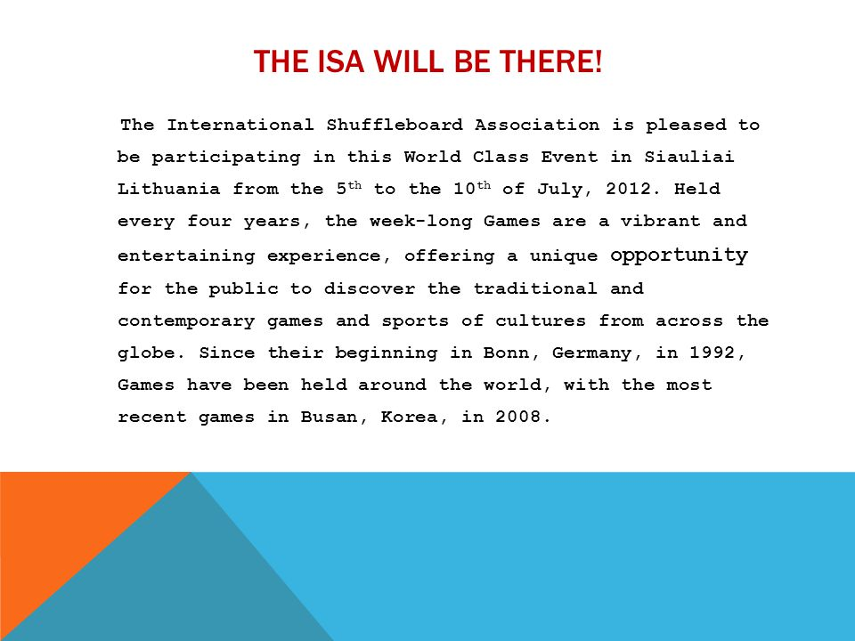 The ISA Will Be There!