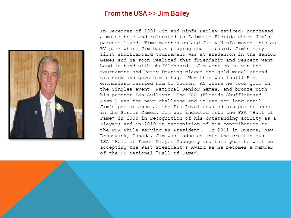 From the USA >> Jim Bailey
