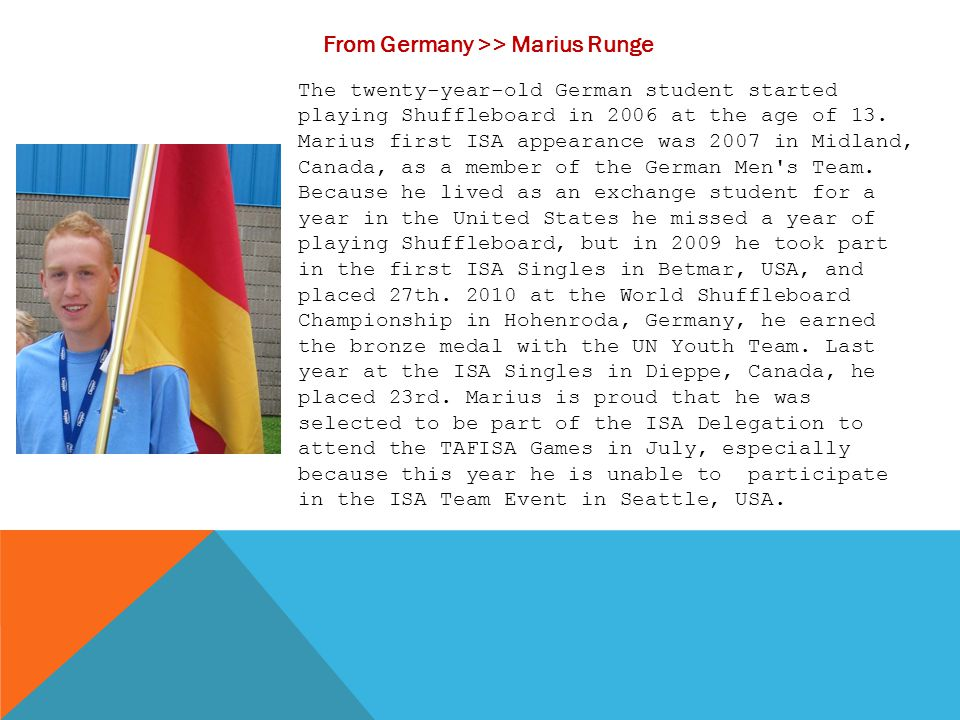 From Germany >> Marius Runge