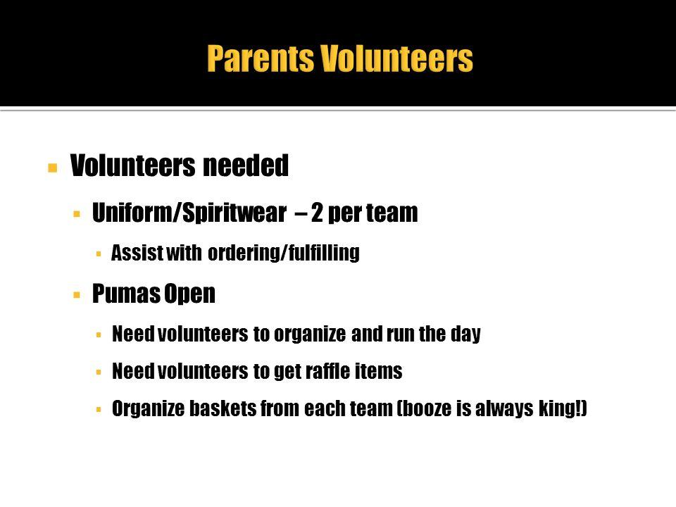 Parents Volunteers Volunteers needed Uniform/Spiritwear – 2 per team