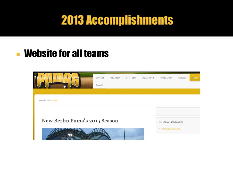 2013 Accomplishments Website for all teams