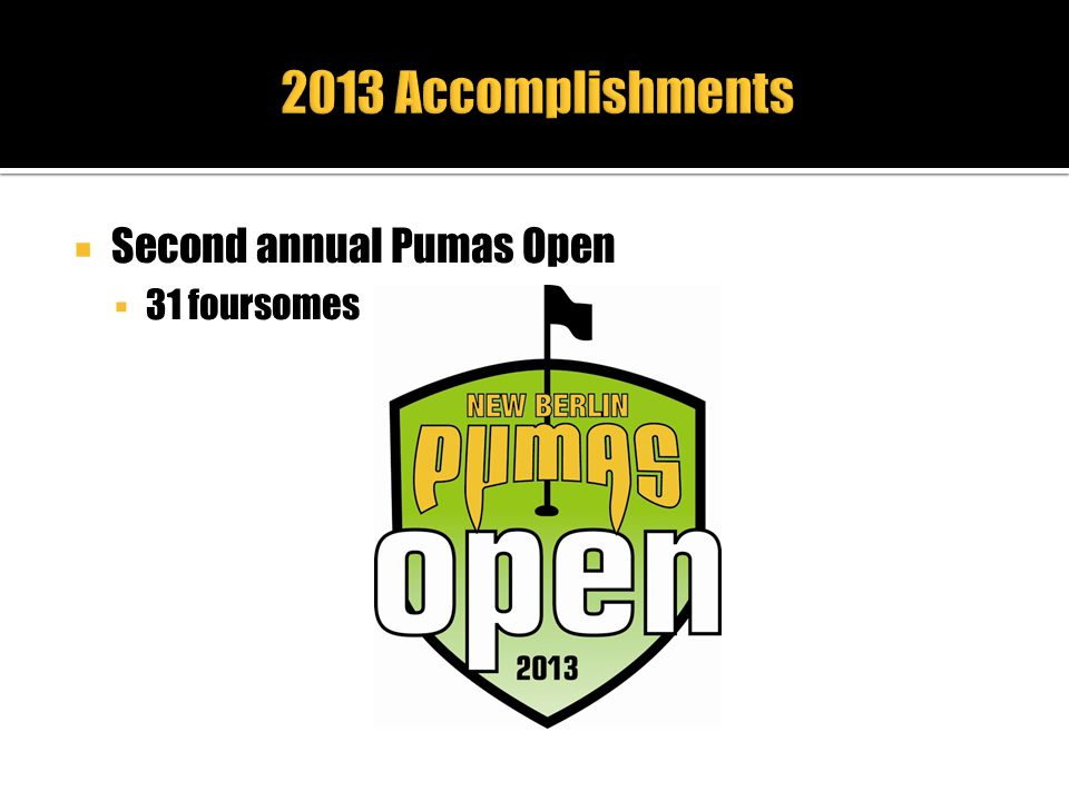 2013 Accomplishments Second annual Pumas Open 31 foursomes