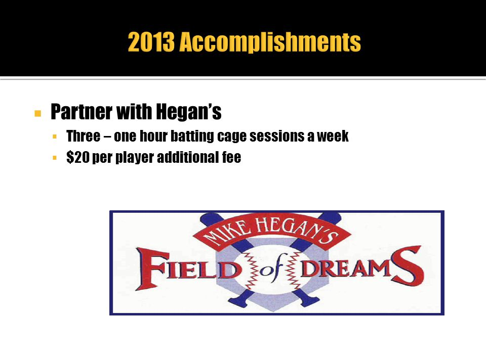 2013 Accomplishments Partner with Hegan's