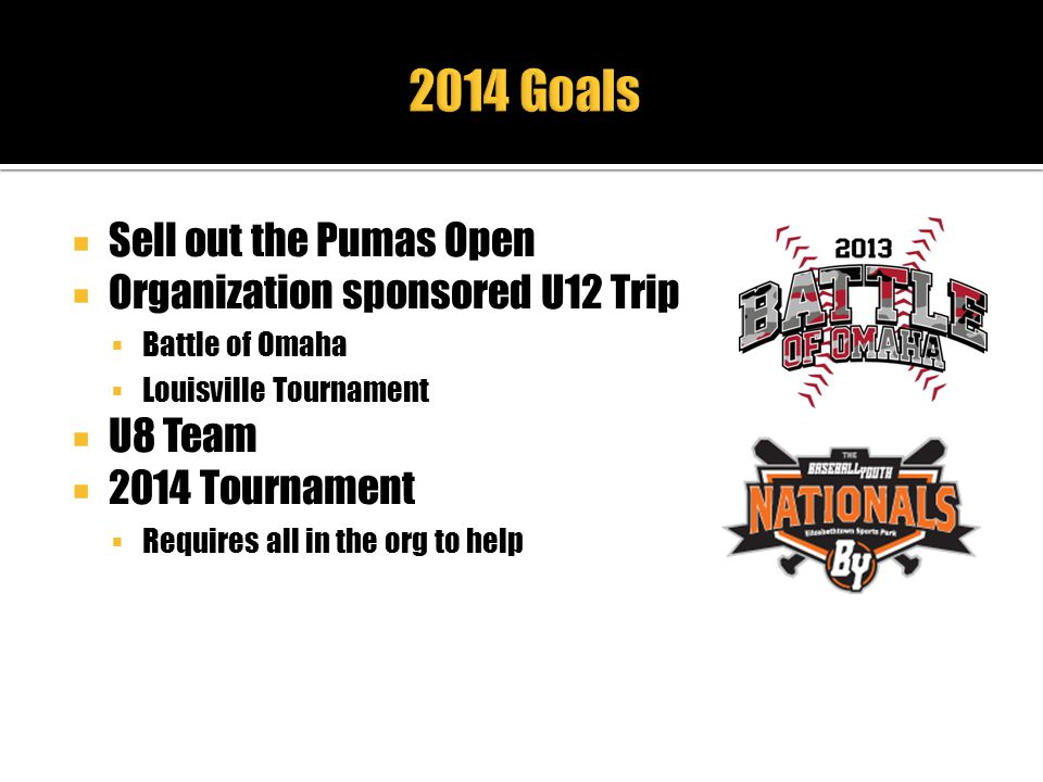 2014 Goals Sell out the Pumas Open Organization sponsored U12 Trip
