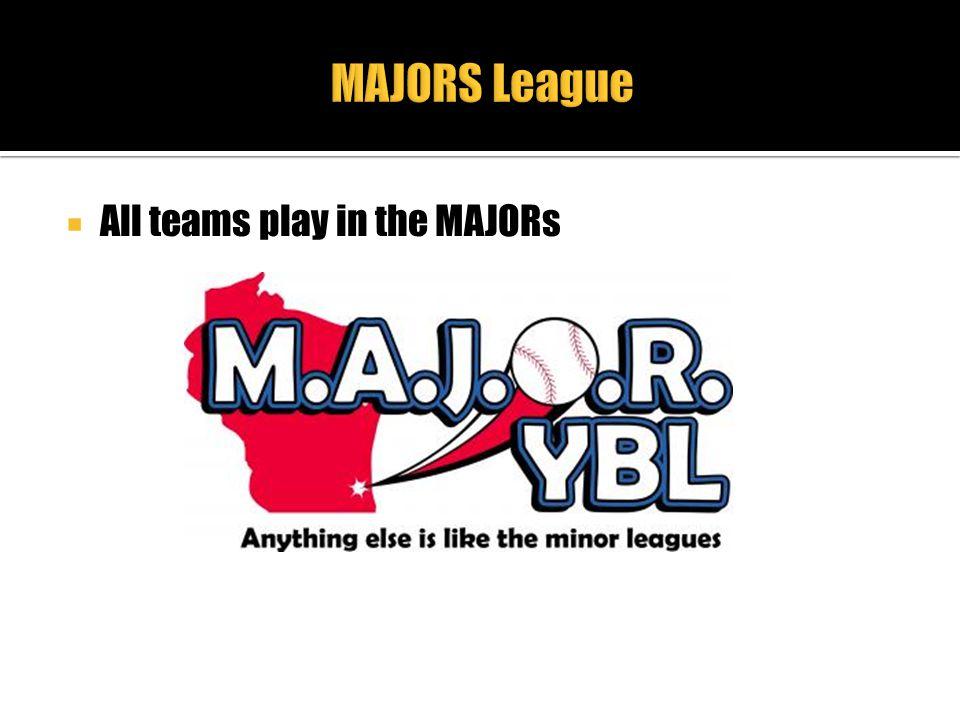 MAJORS League All teams play in the MAJORs