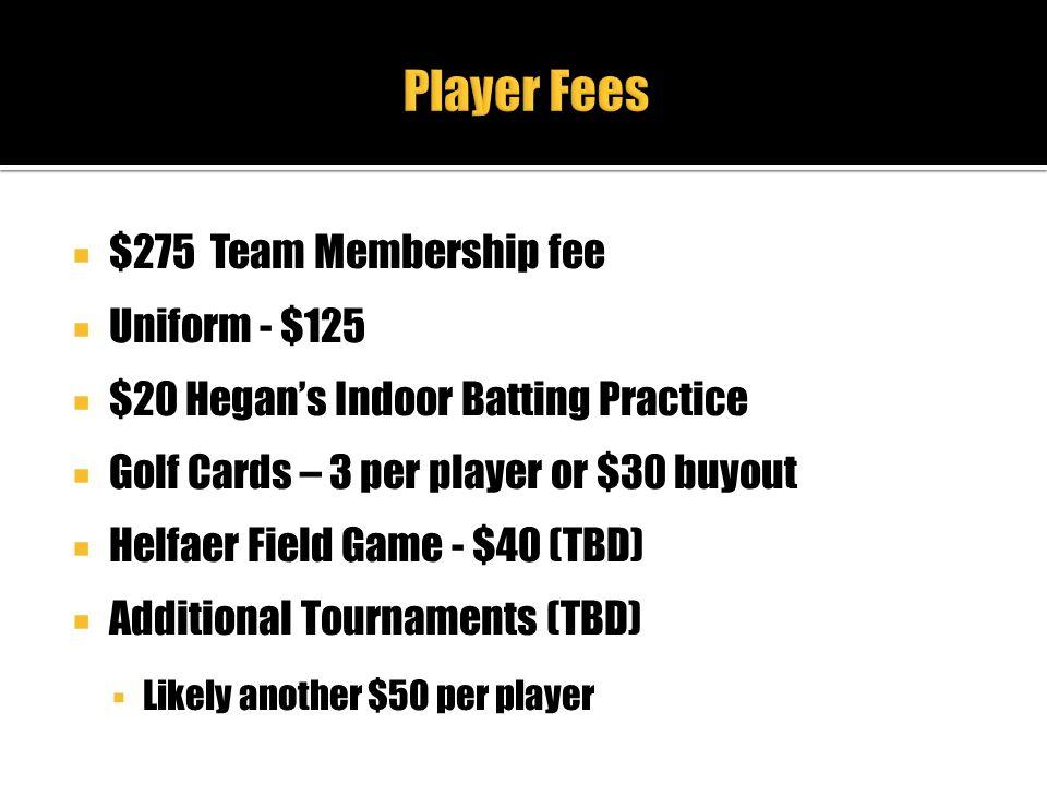 Player Fees $275 Team Membership fee Uniform - $125