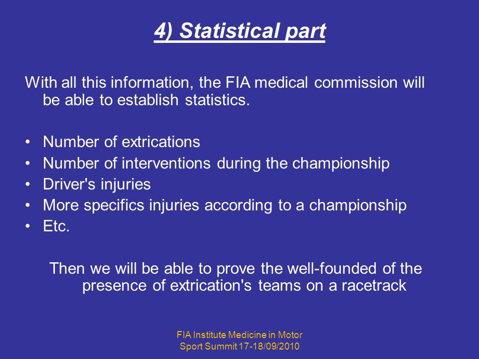 FIA Institute Medicine in Motor Sport Summit 17-18/09/2010