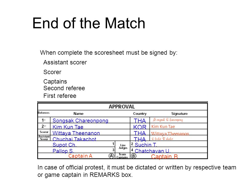 End of the Match When complete the scoresheet must be signed by: