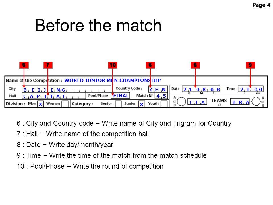Page 4 Before the match. 6. 7. 10. 6. 8. 9. WORLD JUNIOR MEN CHAMPIONSHIP. B E I J I N G.