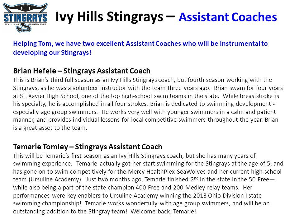 Ivy Hills Stingrays – Assistant Coaches