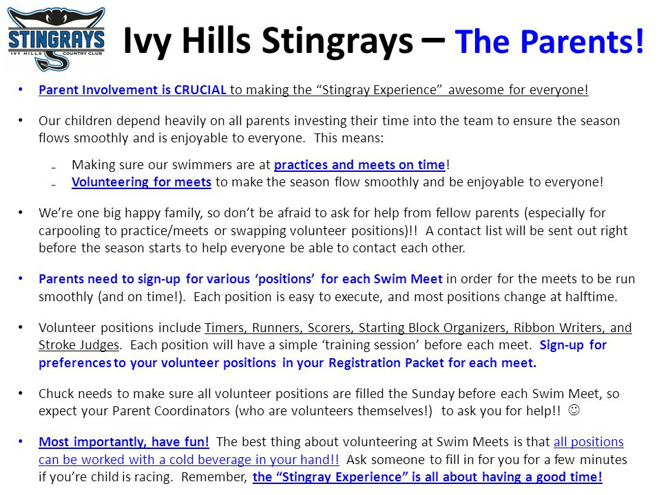 Ivy Hills Stingrays – The Parents!